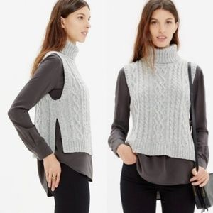 Madewell Turtleneck Cable Knit Sweater Vest Gray S